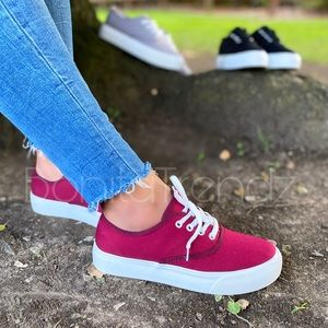 Burgundy Canvas Platform Lace Up Sneakers